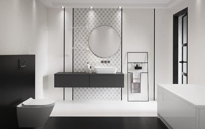 Aranżacja Biało-czarna klasyka - Salon łazienkowy Glazura Ekspert