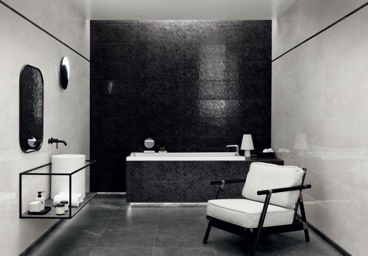 Aranżacja Biało Czarna Klasyka Salon łazienkowy Glazura